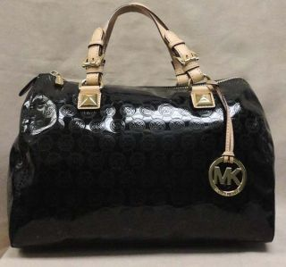 MICHAEL KORS GRAYSON LG MONOGRAM BLACK PATENT LEATHER SATCHEL BAG MSRP