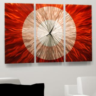 Contemporary Abstract Hand Painted Metal Wall Art Red Shift Clock by