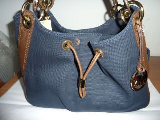 Michael Kors Ludlow Navy w Brown Leather Trim Large Shoulder Bag Tote