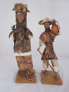 Mexican Paper Mache Man Woman Folk Art Hand Made