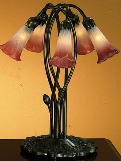 Meyda Tiffany Pink White Pond Lily 16 5 Stained Glass 5 Lt Table Lamp