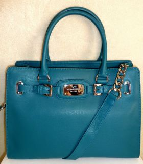 Michael Kors Hamilton E w Leather Satchel Tote Handbag Turquoise Blue