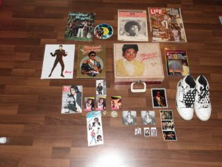 Lot of Michael Jackson Memorabilia Record Player LA Gear Shoes Cards
