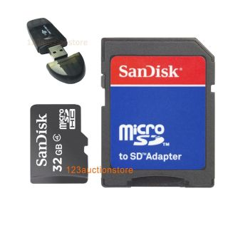 Sandisk 32GB 32G Micro SDHC SD HC Class 4 Memory Card Case Adapter USB