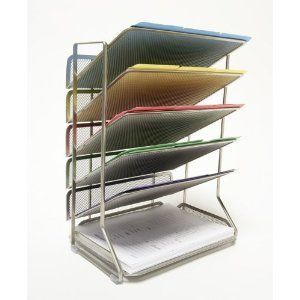 Classics Office Desk Organizer Platinum Mesh 6 Tray Wall Paper Letter