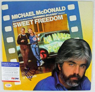 Michael McDonald Sweet Freedom Signed Album Cover w Vinyl PSA DNA