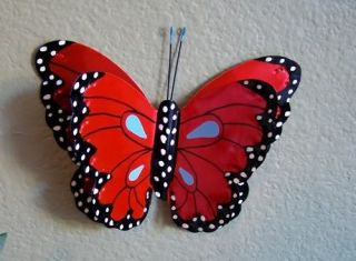 Red Butterfly Metal Art Hand Crafted Wall Home Decor