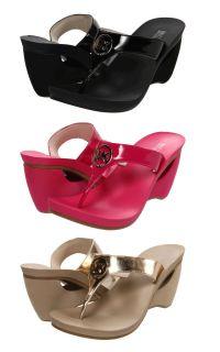 Michael Kors Womens Warren Black Pink or Champagne Platform Wedge