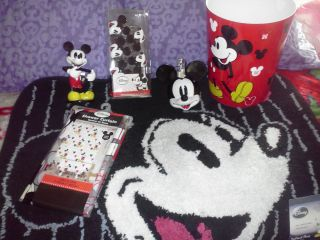 Disney Mickey Mouse Fabric Shower Curtain with Decorative Hooks Rug