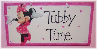 Minnie or Mickey Mouse Tubby Time Bathroom Girls Bath Decor Sign Any