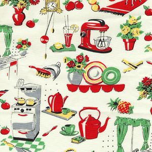 Michael Miller, FIFTIES KITCHEN 1950s Novelty Repro Fabric Red Green