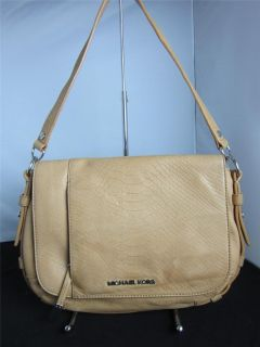 Michael Kors Bowen Python Embossed Leather Handbag Tan