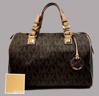 Authentic MICHAEL KORS brown large signature leather satchel bag MSRP