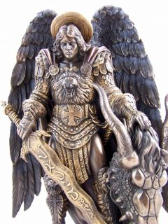 Bronze Protector St Saint Michael Angel Statue Sculpture Figure
