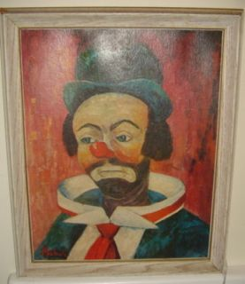 Original Oil Painting Sad Clown by Canadian Michele