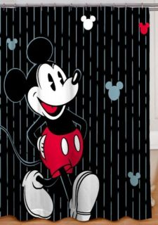 Disney Mickey Mouse Tuxedo Shower Curtain and 12 Shower Curtain Hooks