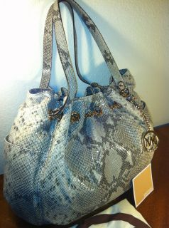 MICHAEL BY MICHAEL KORS JET SET CHAIN PYTHON EMBOSSED LINED TOTE
