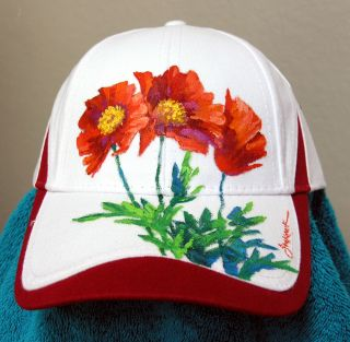 Mikki Senkarik Original Oil Painting Red Poppies Collector Cap
