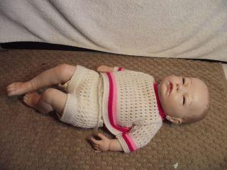 Vtg Pocerlain Newborn Baby Girl Doll 18