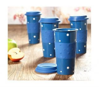 Polka Dot Set 4 Travel Mugs Silicone Grip BLUE Microwave Safe NEW