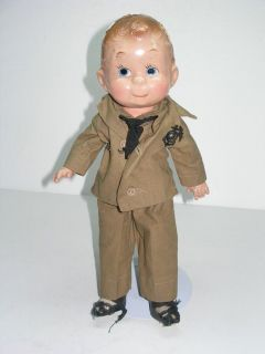 World War II Era Composition Military Doll in Army Uniform