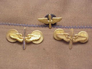 WWII US Army Air Corps AAF Officer Pilot Uniform Jacket Collar Brass
