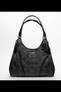 Coach Madison Maggie Op Art Black 3 Compartment Handbag Purse
