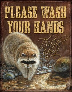 Metal Tin Sign Please Wash Your Hands Thank You Racoon Rosemary
