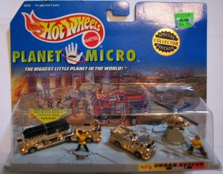 Planet Micro Urban Rescue GOLD Edition Set with Fire Trucks & Chopper