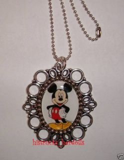 Boutique Mickey Mouse Oval Pendant Necklace Altered Art