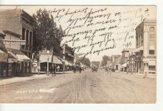 MT Miles City Street Scene 1913 Holmboe RPPC Postcard