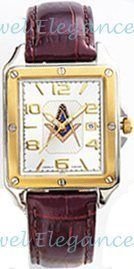 Blue Lodge Masonic Watch Leather Strap Square Face White Dial