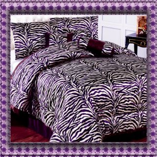 Purple Zebra Animal Print Faux Fur Comforter Set King Queen w Matching