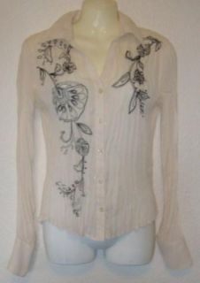 Allison Taylor Misses Sheer Crikle Top Blouse Small 192