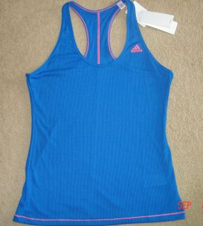 NWT ADIDAS womens tank top L large climalite slim fit blue fitness
