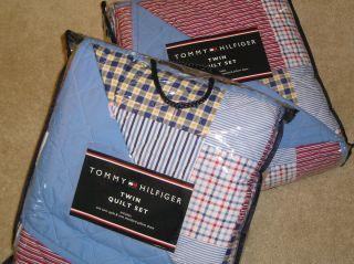 TOMMY HILFIGER MIDDLEBURY RED WHITE BLUE PLAID FULL QUEEN QUILT SHAM