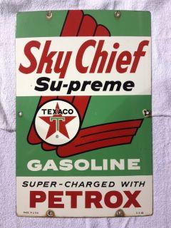 VINTAGE 1960 TEXACO SKY CHIEF SU PREME GASOLINE GAS PUMP PORCELAIN