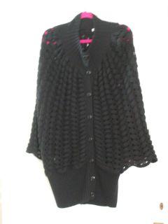 Stylish KAREN MILLEN Black Knitted Cardigan Jacket Cape Size 4 UK Size
