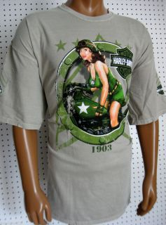 Mens Harley Davidson Military Pin Up s s T Shirt