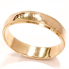 Mens High Polished Hammered Solid 14k Yellow Gold 5 mm Milgrain Edge