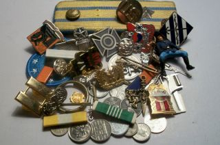 Junk Drawer Military Insignia Coins Crests Ribboons Romanian Patches