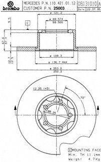 Brembo 25003 Disc Brake Rotor