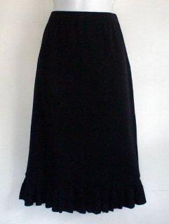 Ming Wang Petite Black Acrylic Knit Skirt Ruffle Hem Sz PS