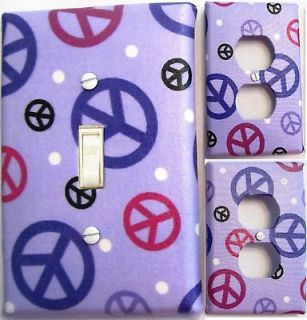 Peace Signs Light switch outlet wall plate covers custom room decor