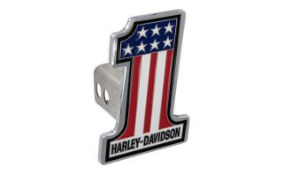 Harley Davidso n Number 1 American Flag Metal Trailer Tow Hitch Cover