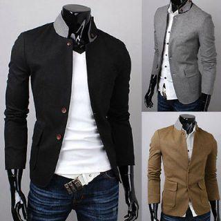 Mens Luxury Fashion Stylish Slim Fit two Button Suit Coat S1035 3Color