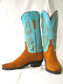 Womens 1883 By Lucchese Western Boot N4503 5/4 Turquoise & Camel Rough