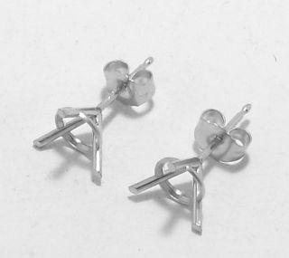 Prong Martini Stud Earrings Settings Mountings 14K White Gold