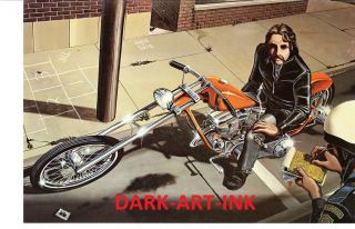 David Mann Art Busted Print Easyriders Harley Davidson Chopper