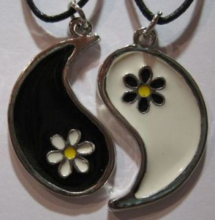 YING YANG FLOWER Friendship Pendant Charm   BEST FRIENDS NECKLACES